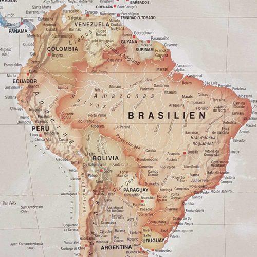 Världskarta för vägg Antik 100x70 cm Sydamerika Där du kan markera med nålar vart du har varit. Passar lika bra i hemmet som på kontoret eller företaget Kartkungen
