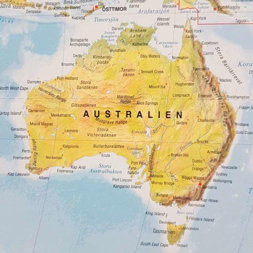 Världskarta Världen Fysisk Australien 70x100 cm Silver ram. För markering med nålar. För hemmet, kontoret eller företaget Kartkungen