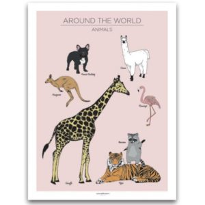 Poster 30x40 Frank & Poppy Animals Pink