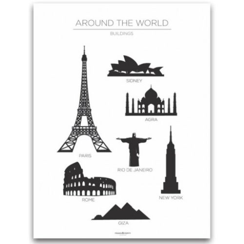 Poster 30x40 Frank & Poppy Buildings White