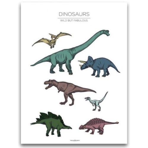 Poster 30x40 Frank & Poppy Dinosaurs White
