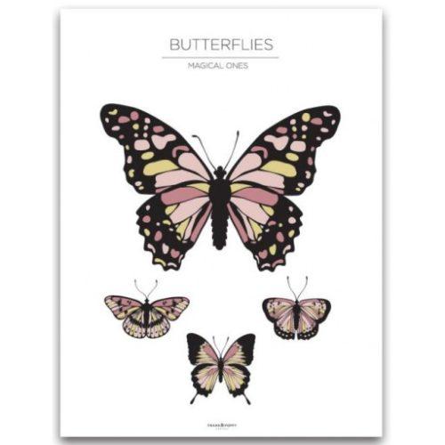 Poster 30x40 Frank & Poppy Butterflies White