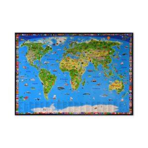 Världskarta för barn för väggen i barnrummet