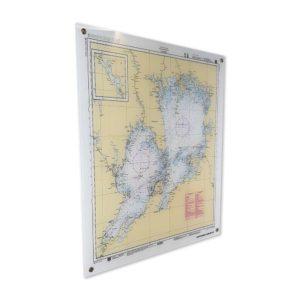 Sjökort Vänern tryckt på plexiglas för väggen 60cmx70cm