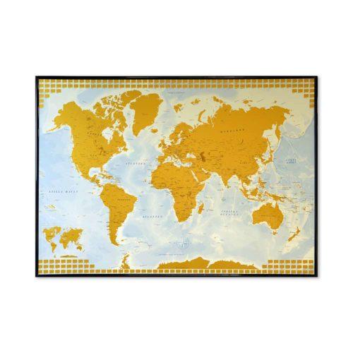 Stor världskarta för vägg där du både kan skrapa fram vart du har varit i världen eller märka ut de länderna du rest till med nålar. Svart ram