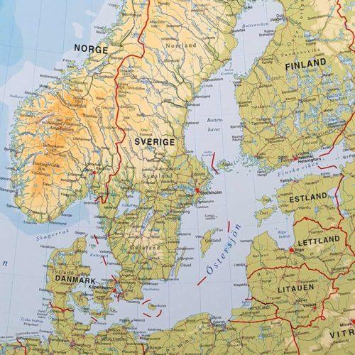 Europakarta Sverige för markering med nålar