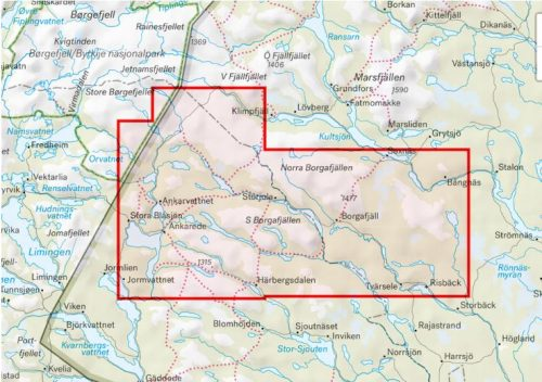 karta Borgafjäll, Saxnäs & Stekenjokk