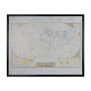 En liten väggkarta världskarta världen med ram