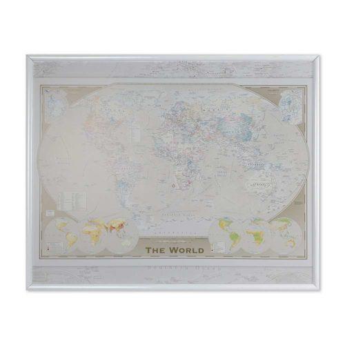 Liten världskarta för markering med kartnål