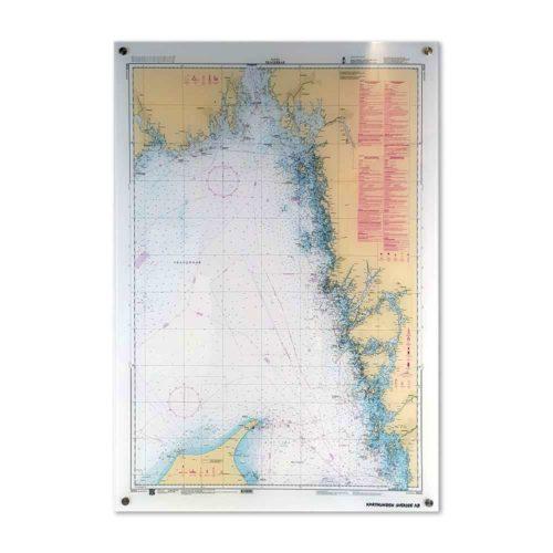 sjökort för vägg plexiglas över Skagerrak västkusten Kartkungen
