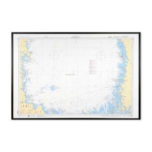 Inramat sjökort över södra Bottenhavet där ni kan märka ut med nålar vart ni har rest eller vill resa. Eller kanske bara som en fin tavla? Handgjord ram.