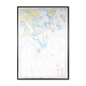Inramat sjökort över Germandon Luleå Esterson där ni kan märka ut med nålar vart ni har rest eller vill resa. Eller kanske bara som en fin tavla? Fin ram.