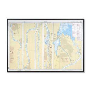 Inramat sjökort över Göta Älv och Trollhätte Kanal Norra där ni kan märka ut med nålar vart ni har rest eller vill resa. Eller kanske bara som en fin tavla?