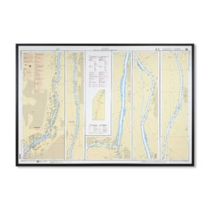 Inramat Sjökort 1352 över Göta Älv Trollhätte Kanal Södra där ni kan märka ut med nålar vart ni har rest eller vill resa. Eller kanske bara som en fin tavla?