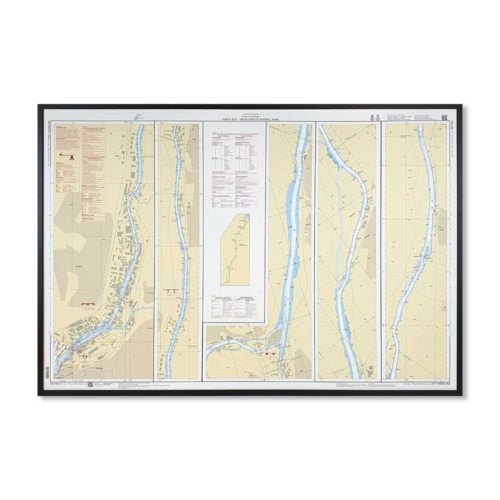 Inramat sjökort över Göta Älv Trollhätte Kanal Södra där ni kan märka ut med nålar vart ni har rest eller vill resa. Eller kanske bara som en fin tavla?