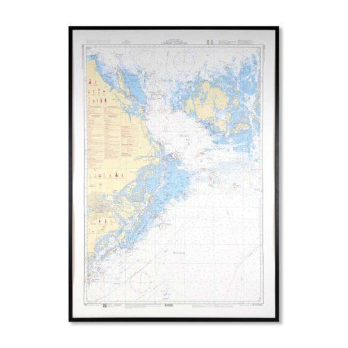 Inramat Sjökort 61 över Landsort Ålands Hav där ni kan märka ut med nålar vart ni har rest eller vill resa. Eller kanske bara som en fin tavla? Handgjord ram.