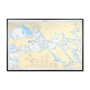 Inramat sjökort över Mälaren västra där ni kan märka ut med nålar vart ni har rest eller vill resa. Eller kanske bara som en fin tavla? Handgjord ram.