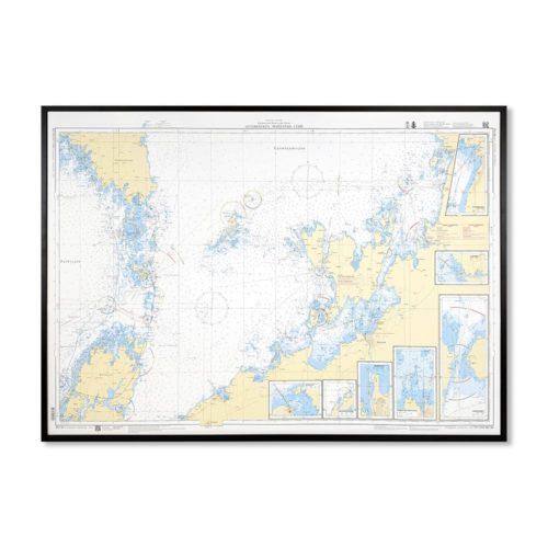 Inramat sjökort 133 över Otterbäcken Mariestad Lurö där ni kan märka ut med nålar vart ni har rest eller vill resa. Eller kanske bara som en fin tavla?