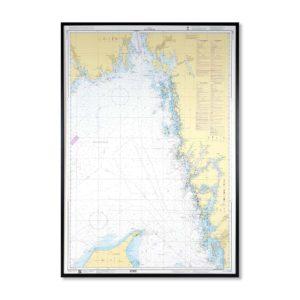 Inramat Översiktskort Sjökort 93 över Skagerrak där ni kan märka ut med nålar vart ni har rest eller vill resa. Eller kanske bara som en fin tavla? Handgjord ram.