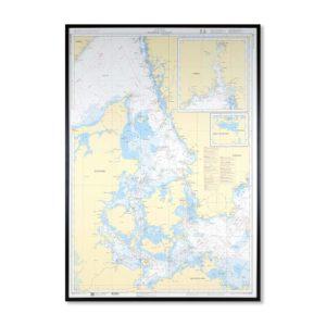 Inramat Sjökort nr 8 med ram över Skagerrak Kattegatt sjökort översiktskortnr 8