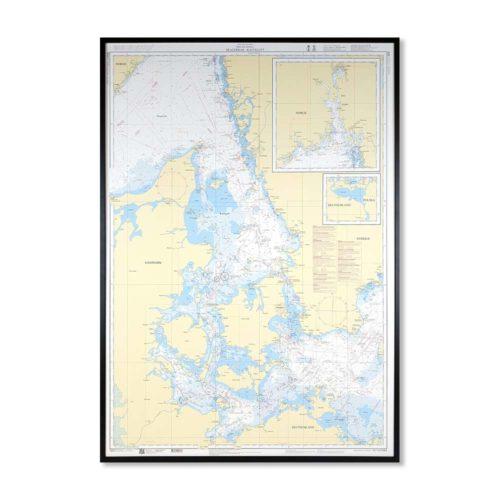 Inramat sjökort med ram över Skagerrak Kattegatt sjökort översiktskortnr 8