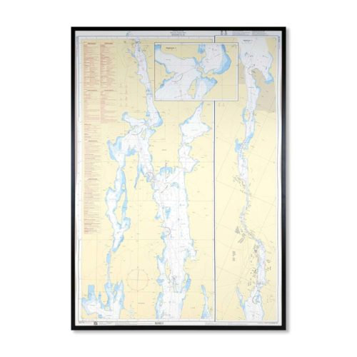 Inramat sjökort 6181 Specialkort över Södertälje från Sjöfartsverket att hänga på väggen, där ni kan märka ut med nålar vart ni har rest eller vill resa. En fin tavla som aldrig går ur tiden. Levereras med handgjord ram.