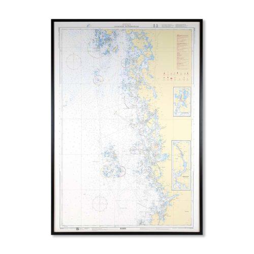 Inramat sjökort Bohuslän Sydkoster Hunnebostrand Väderöarna, Hamburgö, Hamburgsund, Grebbestad, Havstensund, Musön, Fjällbacka, Sotenäset