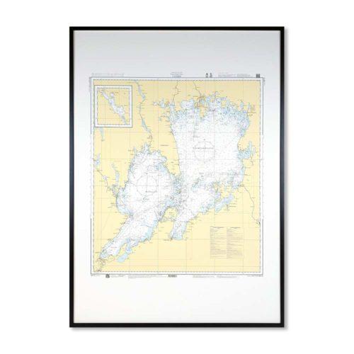 Inramat sjökort över Vänern