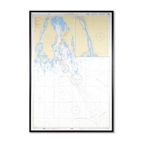 Inramat sjökort över Vegagrundet Holmsund Umeå att ha på väggen