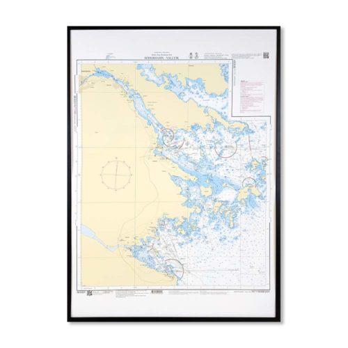 Inramat sjökort över Bottniska viken Söderhamn för vägg. Där ni kan märka ut med nålar vart ni har rest eller vill resa. Eller kanske bara som en fin tavla?