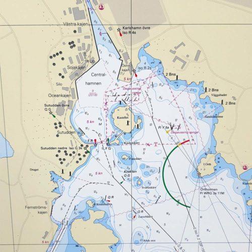 Inramat sjökort för vägg Karlshamn-Stilleryd-INT1327SE7421-01
