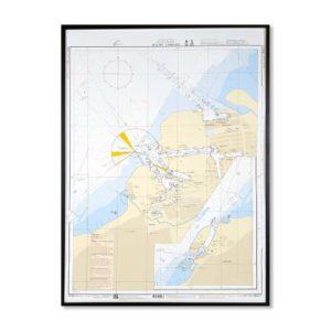Inramat Sjökort 9211 Specialkort över Malmö-Limhamn för vägg. Där ni kan märka ut med nålar vart ni har rest eller vill resa. Eller kanske bara som en tavla? Handgjord ram.