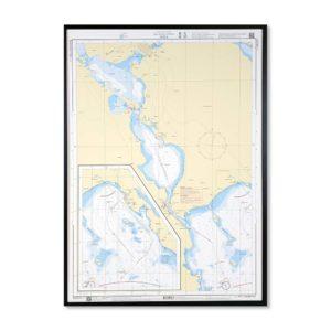 Inramat sjökort över Bottniska viken Piteå för väggen. Där ni kan märka ut med nålar vart ni har rest eller vill resa. Eller kanske bara som en fin tavla? Handgjord ram.