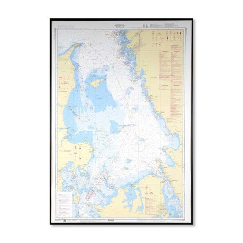 Inramat sjökort över Kattegatt för väggen, Danmark och Sverige kustkort nr 92