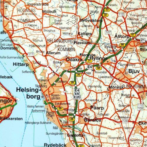 Väggkarta över Småland, Öland och södra Sverige skåne Helsingborg Helsingör för nålar