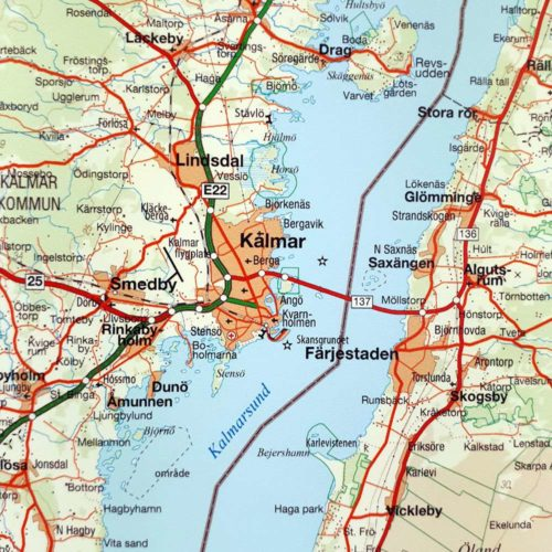 Väggkarta över Småland, Öland och södra Sverige Kalmar Färjestaden för nålar