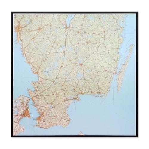 Väggkarta över Småland, Öland och södra Sverige för nålar