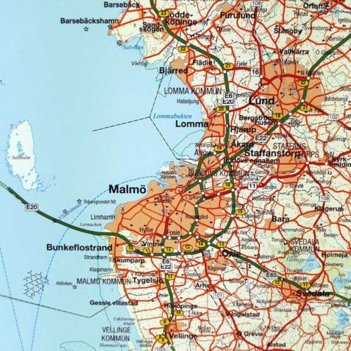Väggkarta över Småland, Malmö Öland och södra Sverige för nålar