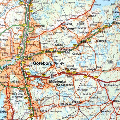 karta för väggen över Malmö, Småland, Öland och södra Sverige Göteborg för nålar