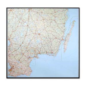 Väggkarta över Småland, södra Sverige och Öland för markering med nålar. Passar lika bra i hemmet, kontoret eller som skolkarta - Kartkungen