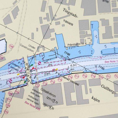 Inramat sjökort över Göteborgs hamn