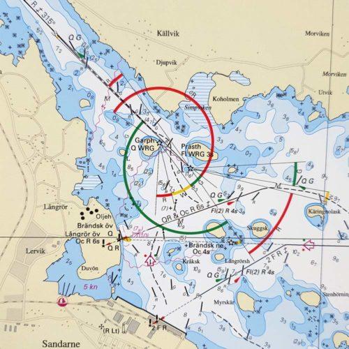 Sjökort med ram över Söderhamn-Vallvik