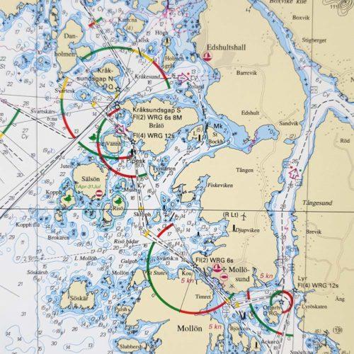 Inramat-sjökort-västkusten-för vägg-Skagerrak-Gullholmen-Stenungssund-Tjörn-Marstrand
