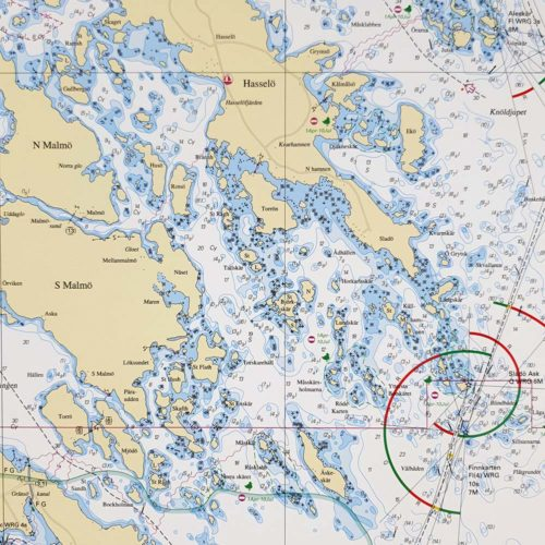 Inramat sjökort Stora Askö-Eknö
