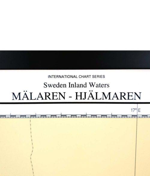 Inramat sjökort-Mälaren-Hjälmaren för vägg