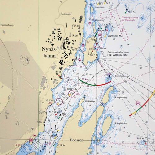 Inramat sjökort över Nynäshamn för vägg