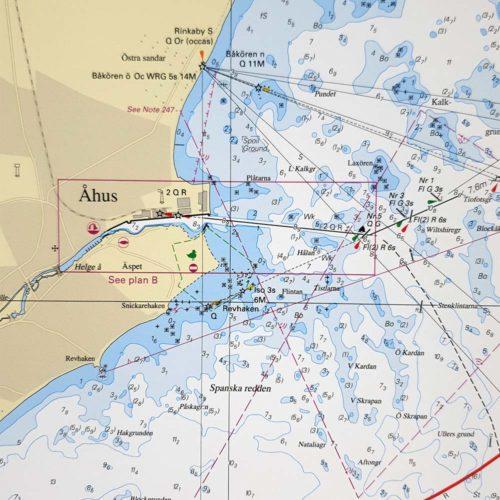 inramat sjökort över Simrishamn-Åhus