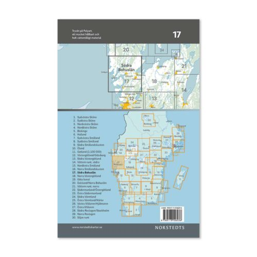 Cykelkarta 17 Södra Bohuslän baksida 9789113106236