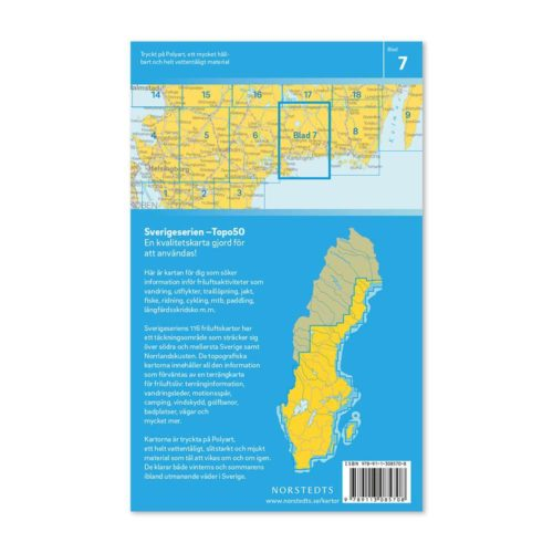 Friluftskarta 7 Karlshamn 9789113085708 täcker in Rävemåla, Tingsryd, Ryd, Backaryd, Mörrum, Ronneby, Hällevik och Hanö (2)