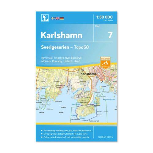 Friluftskarta 7 Karlshamn 9789113085708 täcker in Rävemåla, Tingsryd, Ryd, Backaryd, Mörrum, Ronneby, Hällevik och Hanö
